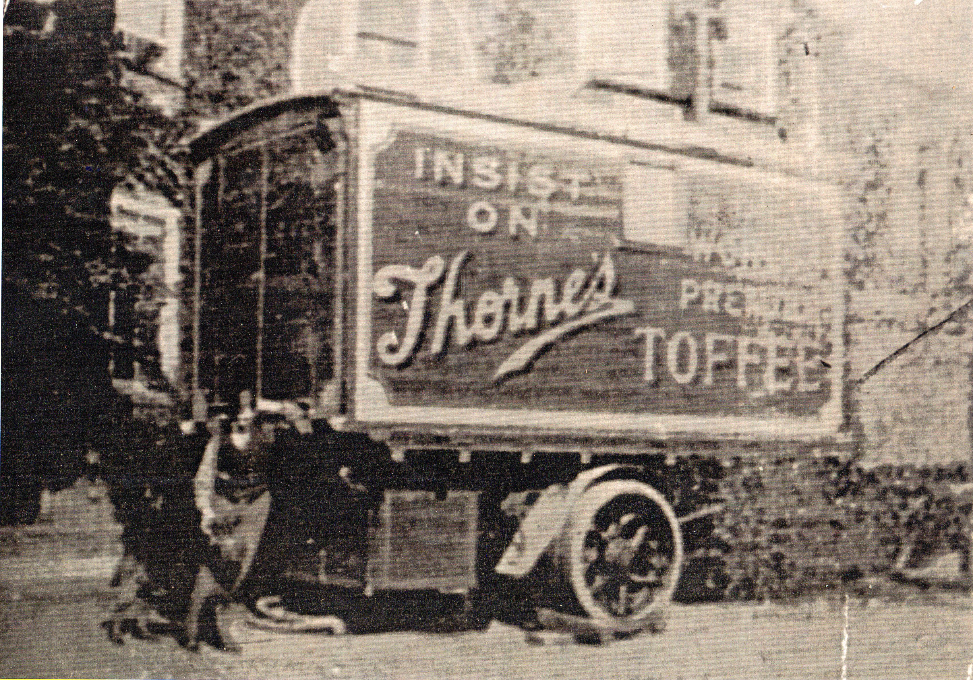 image of a steam wagon painted up by Thornes Toffee of Leeds